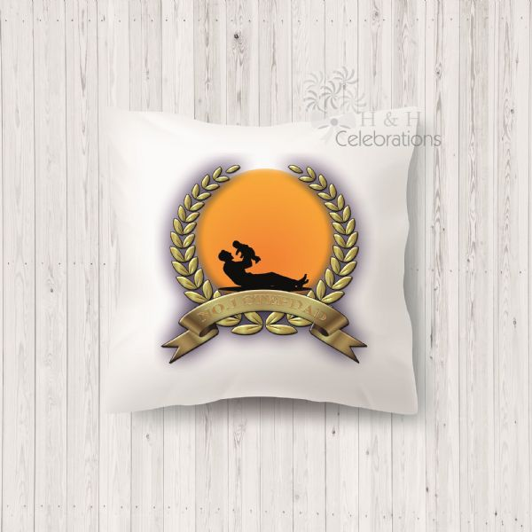 No 1 Stepdad And Infant Laurel Silhouette Personalised Cushion